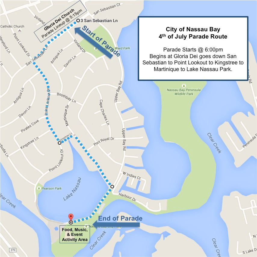 July 4th Nassau Bay Parade Map Opens in new window